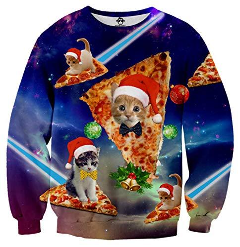 Idgreatim Unisexe Sweatshirts Imprimer Manches Longues Ugly Xmas Pull Elf Chemises XXL