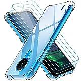 ivoler Klar Hülle für Nokia 1.4 mit 3 Stück Panzerglas Schutzfolie, Dünne Weiche TPU Silikon Transparent Stoßfest Schutzhülle Durchsichtige Kratzfest Handyhülle Hülle