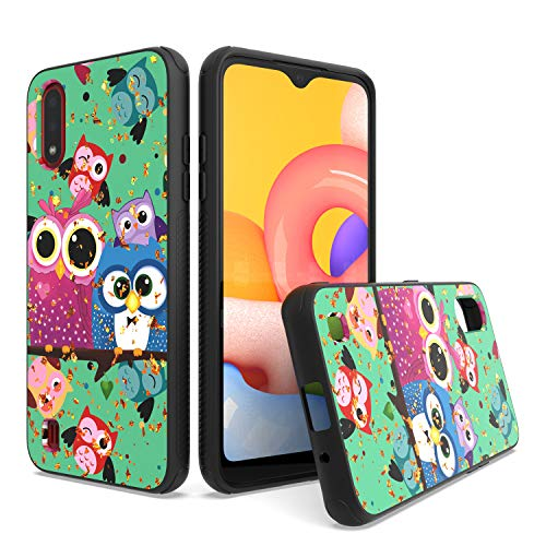 UNC Pro Cell Phone Case for Samsung Galaxy A01, Owl Family Gold Foil Embedded Dual Layer TPU Hybrid Case, Shockproof Bumper Cover