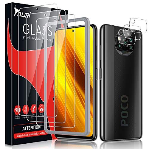 TAURI 6 Pack Protector de Pantalla Xiaomi Poco X3 NFC/Poco X3 Pro,Contiene 3 Pack Cristal Vidrio Templado y 3 Pack Protector de Lente de cámara, Doble Protección,Marco de Posicionamiento