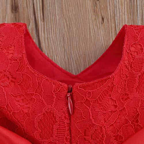 Vestido de Bautizo + Diadema Recién Nacido Bebés sin Mangas Verano Transpirable Traje de Ceremonia Boda para Niñas Vestido de Princesa Elegante con Lazos Cumpleaños (Rojo 6-12M)