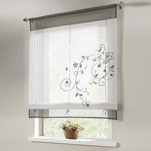 Tragbar Flora Sheer Küche Badezimmer Balkon Fenster Vorhang liftable Raffrollo Vorhang (60cm x 120cm)