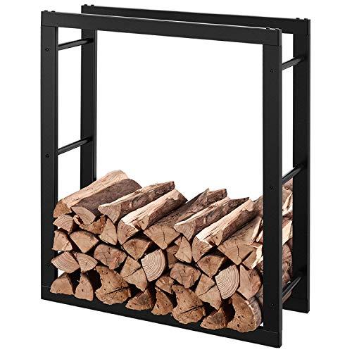 RANSENERS® Metall Kaminholzregal Feuerholzregal Brennholzregal Schwarz 110x27x158cm Stapelhilfe Aussen und Innen