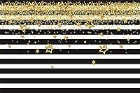 HD 7x5ft落ちる黄金の星がトレンディな縞模様の背景に子供の誕生日パーティーの写真の背景ベビーシャワーの装飾息子の娘女の子芸術的な肖像画フォトブース小道具デジタル壁紙