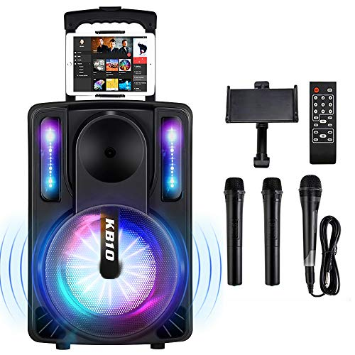 Karaoke Machine for Kids & Adults, SEAPHY DJ Lights 10'' Woofer BT Connectivity Rechargeable PA...