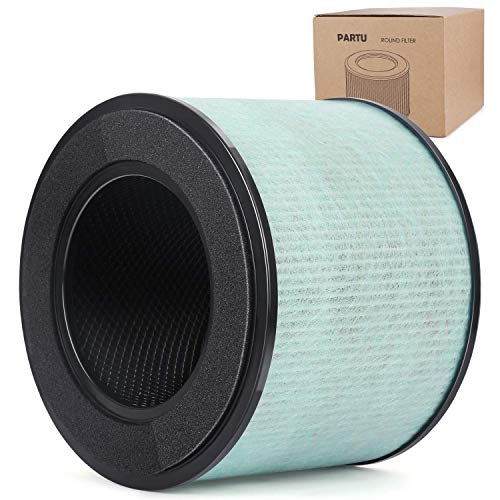 PARTU BS-08 HEPA Air Filter Replacement Filter, 3-in-1 Filtration System Include Pre-Filter, True HEPA Filter, Activated Carbon Filter