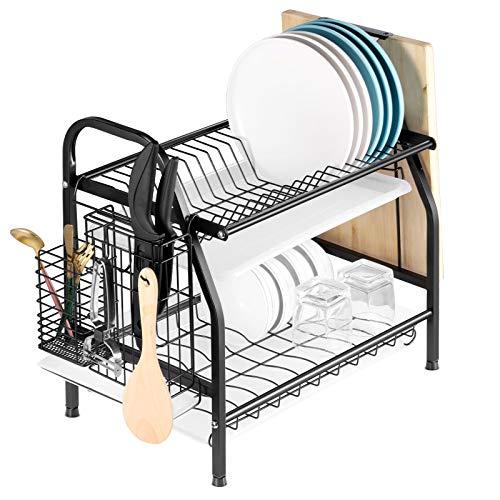 escurridor de platos alvorog, escurridor de platos de acero inoxidable de 2 niveles con soporte para cuchillos y soporte para tabla de cortar, 3 paneles de drenaje extraíbles (negro)