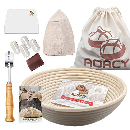 10 Inch Round Bread Proofing Basket, AOACY Banneton Basket with Storage Bag, Bread Lame, Dough Scraper, Cloth Liner, Starter Recipe for Home Baker, 100% Natural Rattan Sourdough Proving Basket