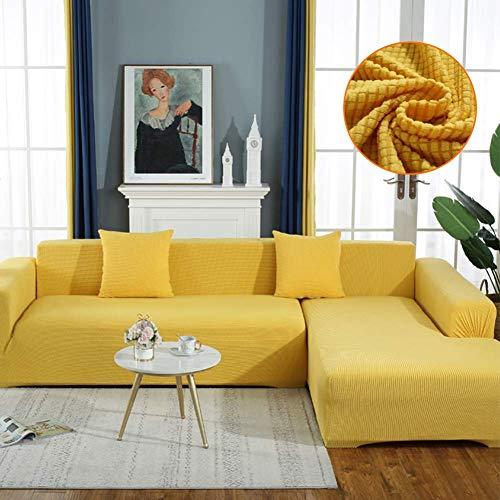 JBNJV Rich Velvet Couchbezug Stretch 2 Stück L-förmiger Couchbezug Anti-Rutsch-Schnittsofa Schonbezug mit Riemen unten Luxus Dickgelb Loveseats 145~185cm