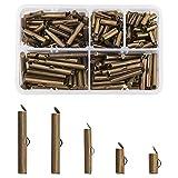 PandaHall 200 tubos de cierre deslizante en el extremo de hierro, bronce antiguo, tapas de extremo...