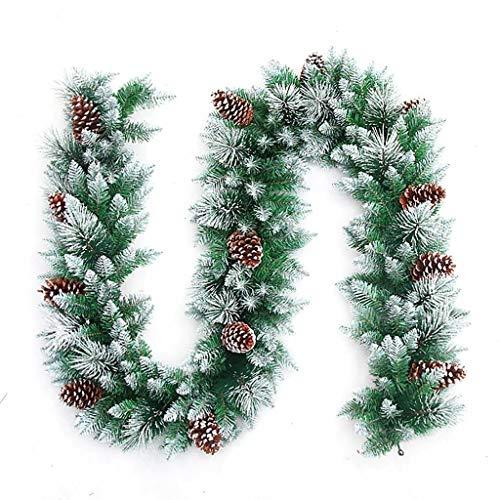 LXESWM 9ft Pre-Lit slinger Kerstmis Sneeuw Koning Fir Garland Kerstversiering Kerstmis slinger met dennenappels voor trap open haarden kerstboom decoratie
