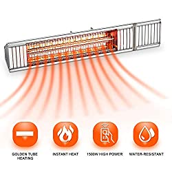 Outdoor Patio Heater, Electric Garage Heater, Home Space Heater, Wall Mounted Infrared Heater with Golden Tube, 1500W