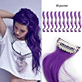 10pcs Curly Wavy Clip in Hair Extensions 20 Inch Long Hair Colored Synthetic Hairpieces Party Highlights - Dark Purprle