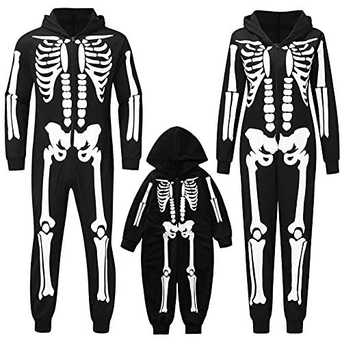 routinfly Pijama familiar a juego de pijamas para Halloween, conjunto de pijamas a juego con esqueleto de Halloween