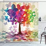 ABAKUHAUS Duschvorhang, Abstrakte Kunst Bunte Baum des Lebens Schmetterling Reflexion Verlässt in Den Regenbogen Farben, Blickdicht aus Stoff mit 12 Ringen Waschbar Langhaltig Hochwertig, 175 X 200 cm