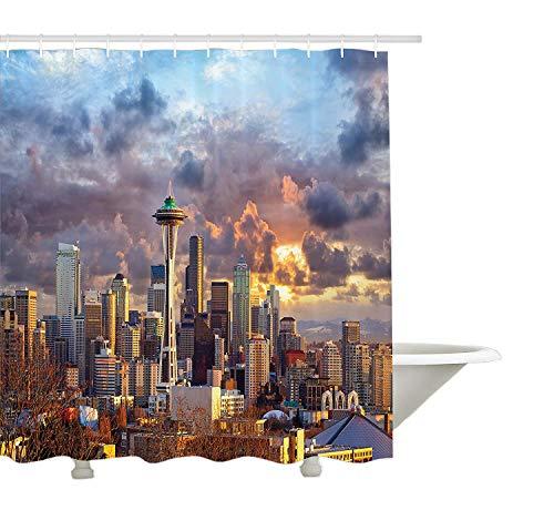 Yeuss appartement Decor Collection, Seattle Skyline au coucher du soleil WA USA Soleil Lampes via Spectaculaires nuages Motif sc¨¨ne, tissu de polyester de salle de bain Rideau de douche