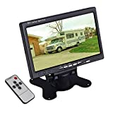 7 inch Car Backup Rear View Camera LCD Monitor Screen Display Only HUINETUL 12V 24V 7' Headrest Overhead TFT Color Monitor for Car Truck Caravan 800x480p
