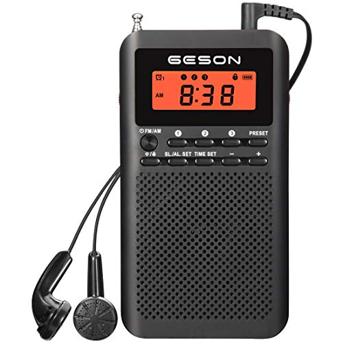 AM FM Radio Portable Pocket Digital Tuning Battery Operated Transistor Radios Best Reception Sleep Timer Preset Alarm Clock and Earphone Black