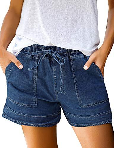 Luyeess Women Casual Drawstring Elastic High Waist Denim Shorts Pockets Jeans Size Medium Dark Blue