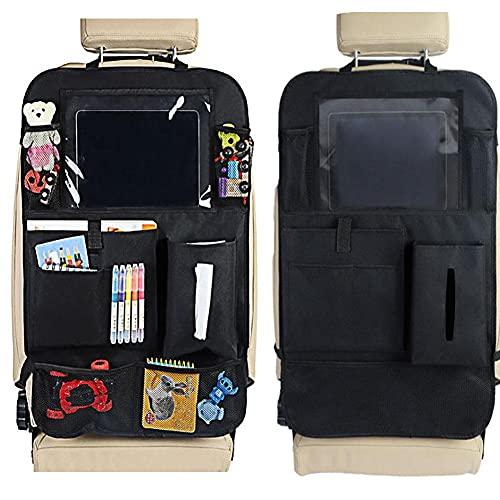 CARMAE 2 unidades organizador de asiento trasero de coche, protector universal para niños, multibolsillos, bolsa de almacenamiento con soporte de pantalla táctil para tableta, caja de pañuelos