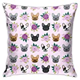 WAZHIJIA French Bulldog Pillowcase Dog Flower Pillow Cover Square Pillow Case Home Decorative Sofa Bedroom Livingroom 18 x 18 inch