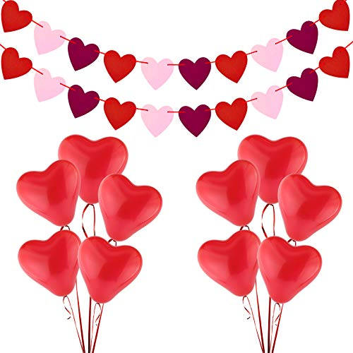 Valentines Decorations 10Pcs Red Heart Balloons 2 Pack Felt Heart Banner Garland for Valentines Day Wedding Engagement Anniversary Romantic Decoration Mothers Day Birthday Party Decorations