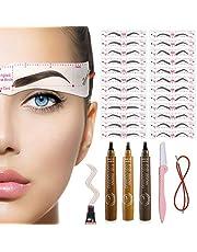 TEUVO 24 Wenkbrauw Sjablonen Wenkbrauwvormer Kits voor Vrouwen Make-up, DIY Herbruikbare Wenkbrauwsjabloon voor Beginners met 3 Kleur wenkbrauwpotlood
