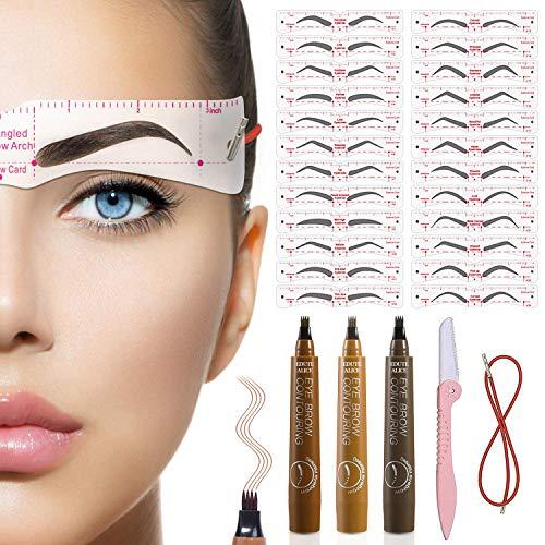 STAY GENT Augenbrauenschablone, Wiederverwendbare Augenbrauenformer Vorlage Schablonen für Anfänger Make-up, Augenbrauenstempel-Kit für Pflege und Zeichnen Brauen, 3 Stifte