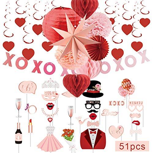 SUNBEAUTY Mariage Decoration Salle Rouge Rose Deco Kit Coeur Tourbillon Suspendu avec Photobooth pour Saint Valentin Wedding Decor
