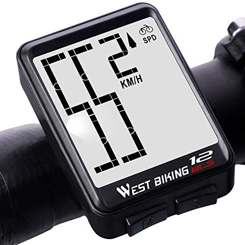 Lixada Cuentakilómetros para Bicicleta Inalámbrico Impermeable Grande Gigital LCD luz de Fondo...