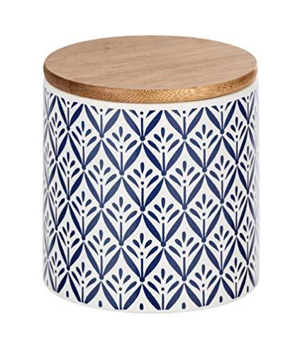 WENKO Aufbewahrungsdose Lorca, 0,45 l, Vorratshaltung, Frischhaltedose mit Bambusdeckel und Silikonring zur luftdichten & aromafrischen Aufbewahrung, aus hochwertiger Keramik, Ø 10 x 11 cm, Mehrfarbig
