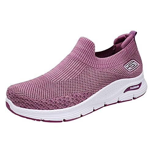Zapatillas de Senderismo para Mujer Tejidas Ligeras y elásticas Transpirables para Caminar a la Moda, cómodas Zapatillas Deportivas Mary Jane (M01_Purple,37)