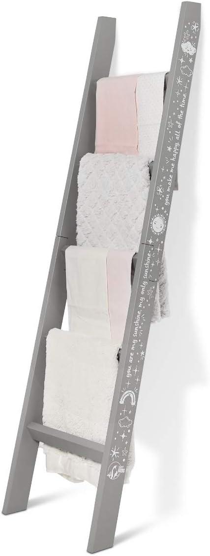 Short Birds Nursery Blanket Ladder - Baby Blanket Storage - Safety Strap - Nursery Decor - Unique Nursery Rhyme Design - Easy Assembly - Pine Wood - No Snag - Light Gray