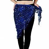 Belly Dance Hip Scarf Triangle Sequin Tassel Beads Belts Waist Scarves 10 Color (Royal Blue)