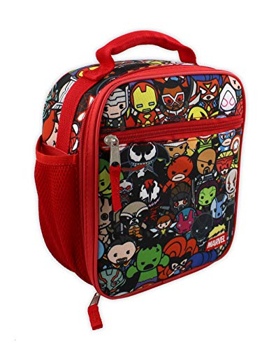 Marvel Kawaii Avengers Girls Boys Soft Insulated School Lunch Box (One Size, Red/Multi)