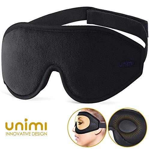 Unimi Premium Schlafmaske Damen und Herren, NULL-Druck 3D konturierte verbesserte Augenmaske, verstecktes Nasenflügel-Design ermöglicht absolute Dunkelheit, 100{3608df45f5573cdebdfcc461f69df7b0b3b5e3aaa6eda52a29671db115edcbce} hautfreundliche Seide Augenmaske