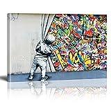 Banksy Graffiti Street Art Impression sur Toile Child Graffiti Tableau Pop Art Chambre Enfant Decoratifs Muraux Salon Moderne Decoration Murale (Avec cadre, 40x60cm)