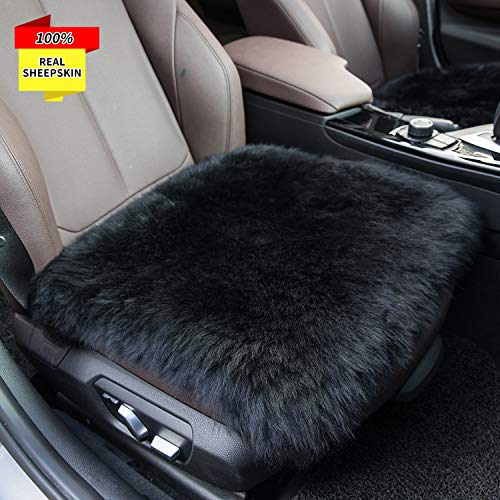 Sisha Sheepskin Seat Cushion Cover Winter Warm Natural Wool Car Seat Covers Universal Fit for Most Car, Truck, SUV, or Van Front Black