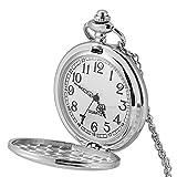 Reloj de Bolsillo Redondo de Cuarzo, Reloj de Bolsillo Hombre, Fantasía Simple, Liso, Colgante, Collar de Aleación de Color para Hombre y Mujer, Digital, Reloj de Bolsillo, Regalo (Plata)