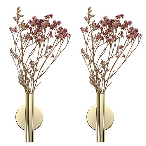 JuxYes Pack of 2 Wall Flower Vase Tube Metal Flower Vase with Sticker, Modern Dried Flower Holder Wall Decoration for Porch Home Office