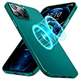 CASEKII Magnetic Slim Case for iPhone 12 Pro Max Case, Compatible with Magsafe Charger or Magnetic Wireless Charging, Ultra Thin Shockproof Matted PC Back Cover 6.7'', Pine Green