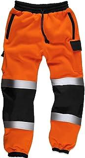 Qaswa Hi Viz High Visibility Mens Work Trouser Safety Fleece Worker Reflective Fluorescent Joggers