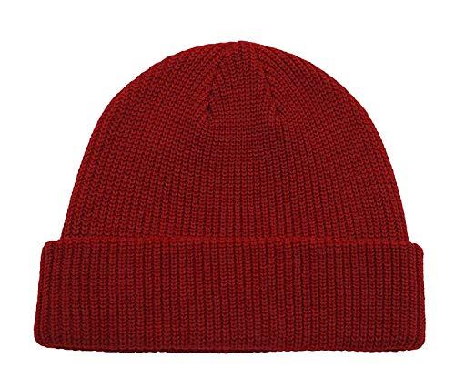 Gu3Je Schön Unisex Retro Winterbeanie Hut, Hut-Winter-Soft-Stretch-Kabel Cap Außen Warm Faule Wollmütze Für Frauen (Color : Claret, Size : 55-60cm)