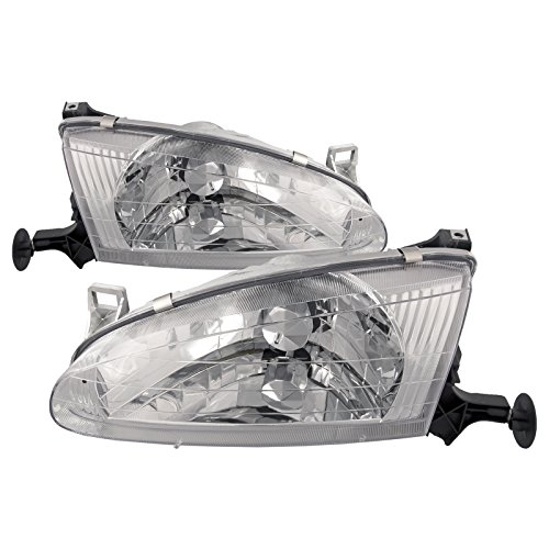 HEADLIGHTSDEPOT Chrome Housing Halogen Headlights Compatible With Chevrolet GEO Prizm 1998-2002 Includes Left Driver and Right Passenger Side Headlamps