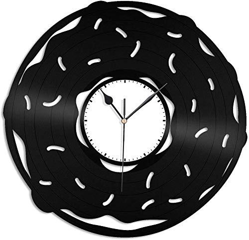 XYVXJ Donuts Reloj de Pared 3D Reloj de Pared de Vinilo Reloj de Registro Arte de la Pared Decoración de habitación única Regalos Hechos a Mano