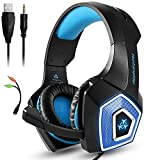 YOUPECK RGB Gaming Headset with Mic for Xbox One PS4 PS5 PC Switch Tablet Smartphone, Headphones Stereo Over Ear Bass 3.5mm Microphone Noise Canceling 7 LED Light Soft Memory Earmuffs (Blue)