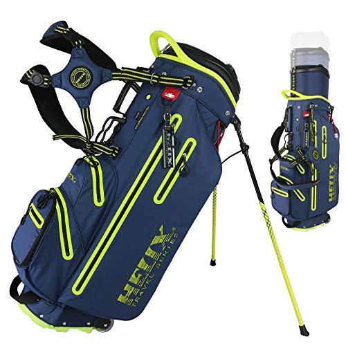 Helix Golftasche, einziehbar, 6-Wege-Trennwände mit Rückengurt, Schultertragetasche, Golftaschenständer mit Rad für Reisen (blau)