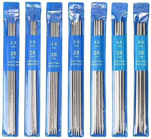 ARPDJK - Juego de agujas de tejer (35 unidades, 2 mm – 5 mm, acero inoxidable, agujas de tejer de doble punta, 20 cm de largo, para principiantes y adultos