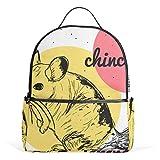 Süßer Chinchilla-Rucksack aus Segeltuch mit großer Kapazität, lässiger Reise-Tagesrucksack für Kinder, Mädchen, Jungen, Kinder, Studenten