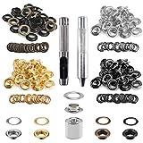 Pulluo 100 Sets Ojetes de arandelas 10mm ojetes metalicos kit de herramienta de ojetes Ojales para Lonas manualidad ropa con caja de almacenaje